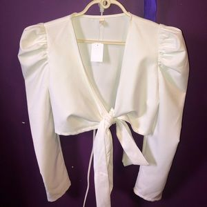 The M boutique - Puff shoulder wrapped blouse